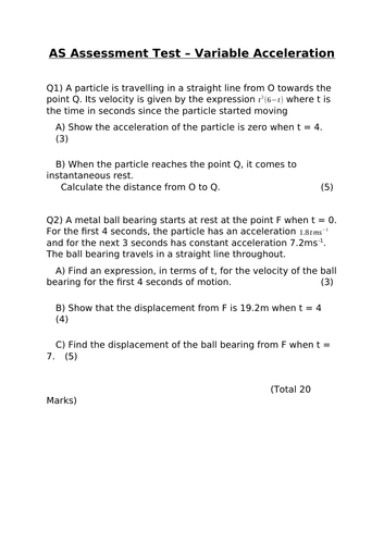 OCR AS Maths Assessment Test - Variable Acceleration
