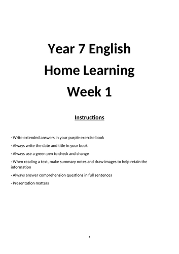 Wk 1 Year 7 English Home Learning/ Revision/ Independent Work/ Coronavirus: Reading Comprehension