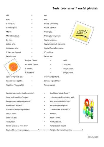 Basic Courtesies/greetings and useful French phrases