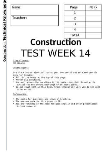Mock Exam BTEC Construction