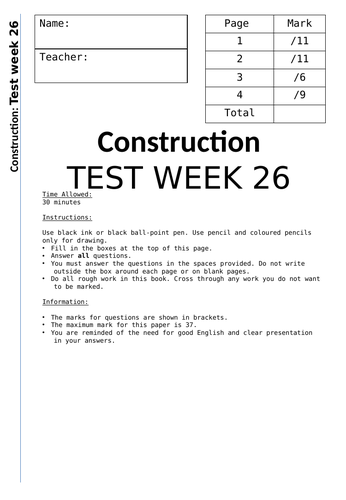 Mock exam BTEC Construction Sustainability