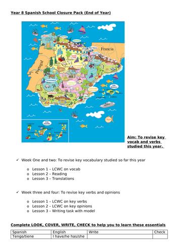 KS3 Spanish revision pack/school closure