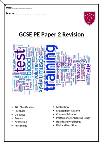 GCSE PE Paper 2 Home Learning Revision Booklet