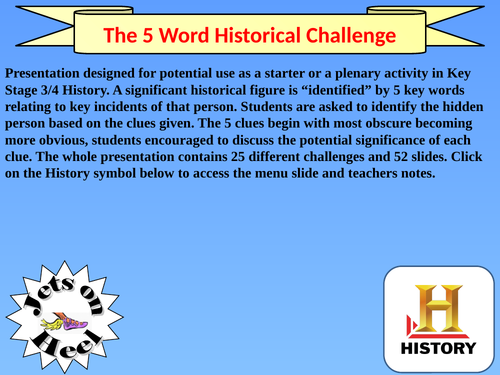 The Five Word History Challenge