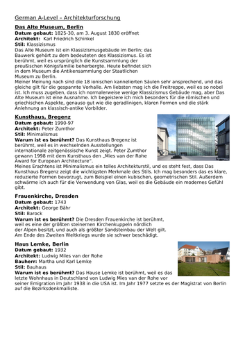 AQA A Level German: Architektur examples and descriptions