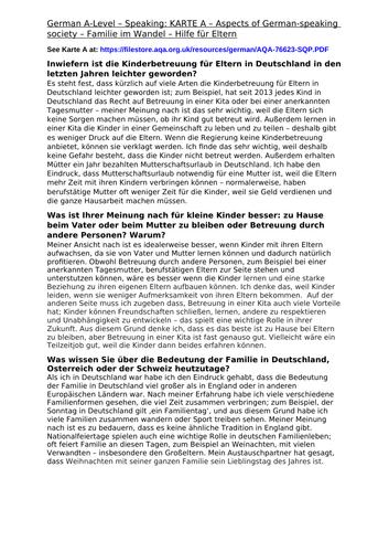 German Speaking: Familie im Wandel - Model Answers