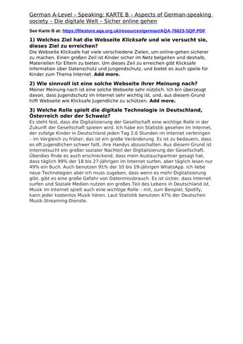 German Speaking: Die digitale Welt - Model Answers