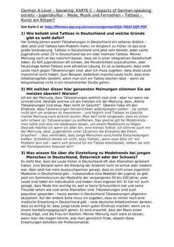 German Speaking: Jugendkultur – Mode, Musik und Fernsehen - Model Answers