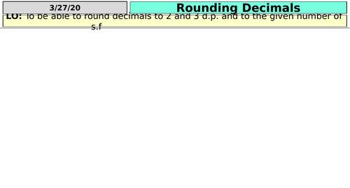 Decimals, Estimate and Significant Figures  (KS3)