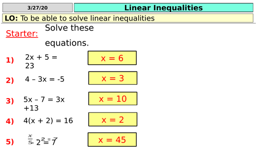 Linear Inequalities  (KS4)
