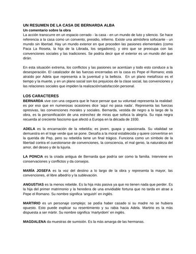 LA CASA DE BERNARDA ALBA Resumen