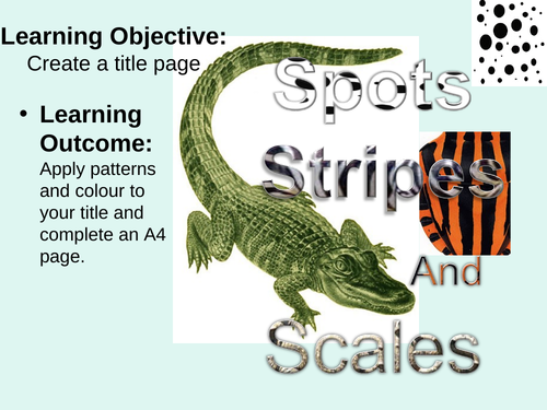 Spots, stripes and scales art project suitable for students age 10-16