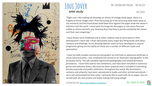 Loui Jover Artist Research and Creative Mixed Media Portrait Task
