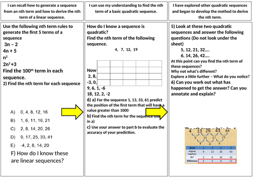 Quadratic Sequence Power point and Worksheet (with answers)