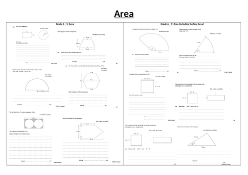 Area Revision GCSE Questions and answers