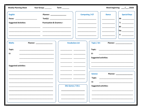 Weekly Planning Template - All Subjects