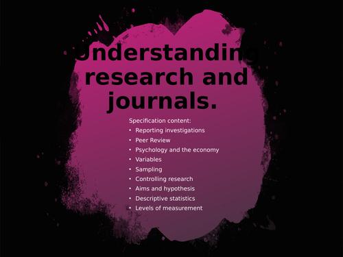 Psychology Project (Research Methods / Reading / Enrichment / University / Transition)
