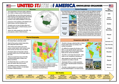 United States of America Knowledge Organiser - KS2 Geography Place Knowledge!