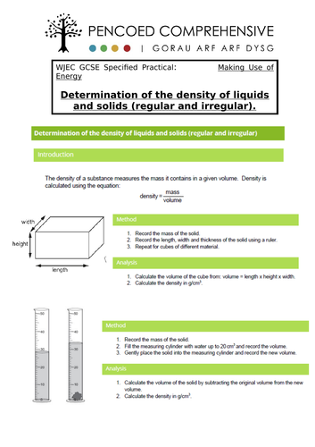 WJEC Specified practicals - Density