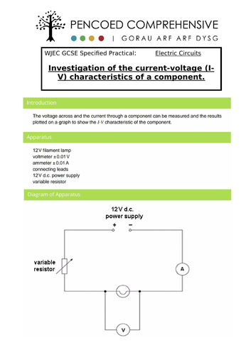 WJEC Specified Practicals - Electrical Circuits