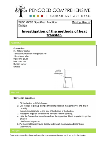 WJEC Specified Practicals - Heat Transfers