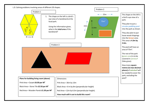 Year 6 - Area of rectangles, triangles and parallelograms for Greater Depth Year 6 II:The Sequel