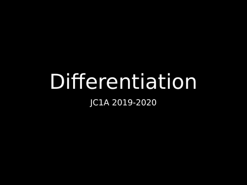 Differentiation Handout - As level