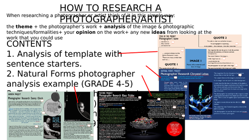 Photographer Research Examples