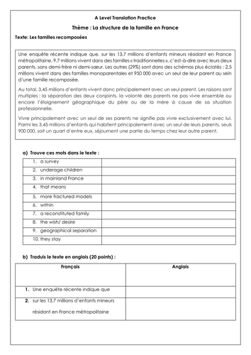 French A Level les familles recomposées: translations on changes in family structure with answers