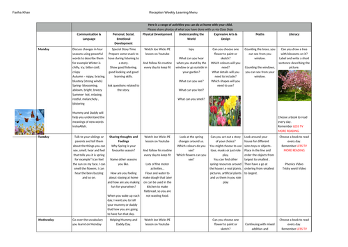 Reception Weekly Home Learning Plan