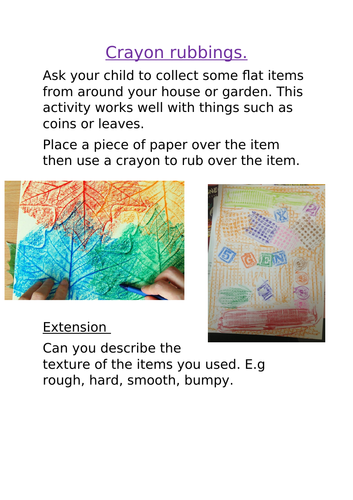 EYFS home learning (pack 2) school closure