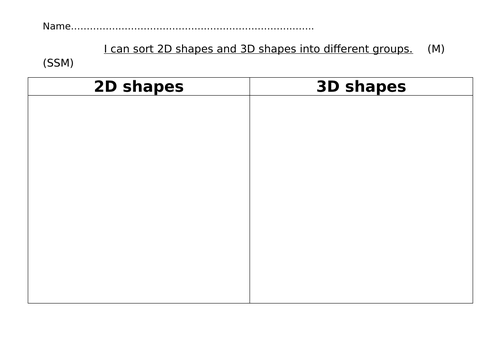 2D and 3D shape sorting