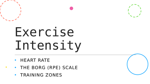 Level 2 BTEC Sport - Unit 1 - Exercise Intensity lesson powerpoint