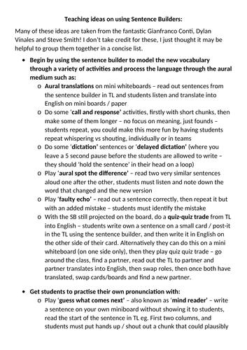 Teaching ideas for using Sentence Builders