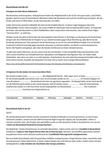 AQA German A-Level Reading Texts: Deutschland und die EU