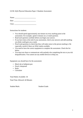 GCSE AQA PE Paper 1 Assessment