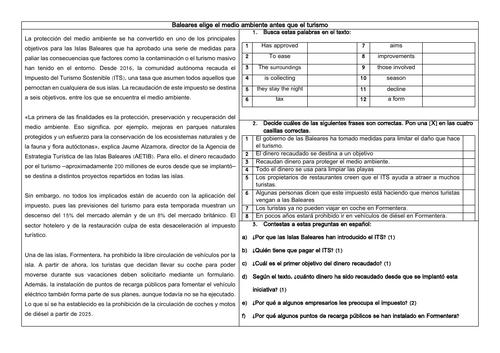 Spanish A Level Impacto turístico en España: Medio ambiente y Islas Baleares Reading & Translation