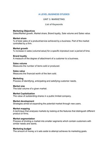 A Level Business Studies keywords - Unit 3  (Marketing)