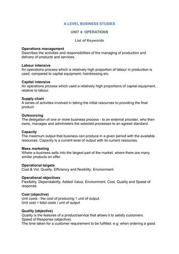 A Level Business Studies keywords - Unit 4 (Operations)
