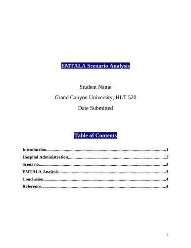 HLT 520 Topic 4 Assignment - EMTALA Scenario Analysis