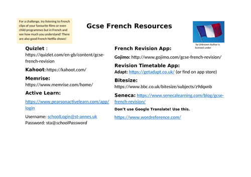 French Revision Resources GCSE Sheet