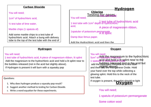 Testing for gases method