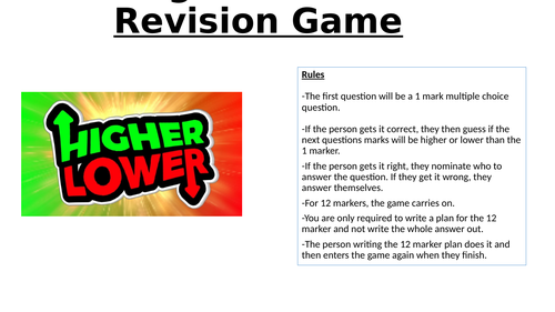 AQA GCSE RE Higher/Lower Revision Game