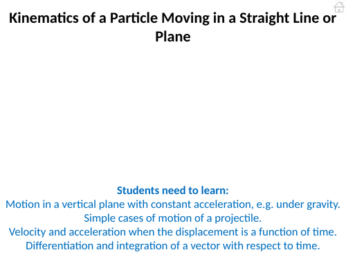 Mechanics 2 (Kinematics of a Particle) PowerPoint