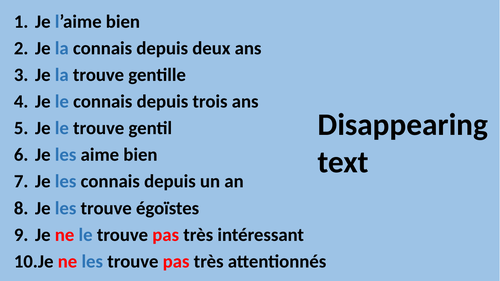Direct object pronouns disappearing text oral task describing people