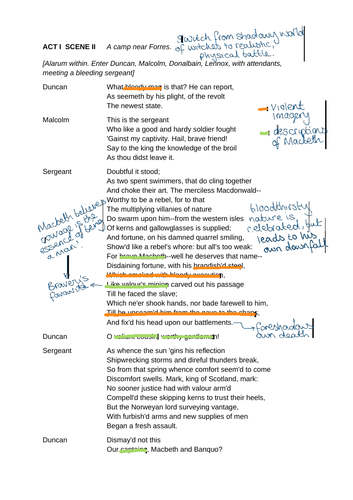 FREE Macbeth Act 1 Scene 2 Annotations