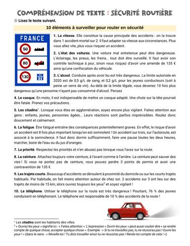 Compréhension et expression écrite : la sécurité routière [road safety] (FLE A2-B1)