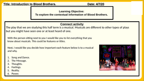 Blood Brothers Introduction/Context Lesson