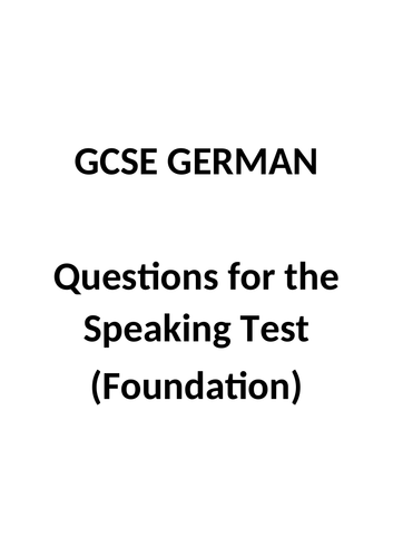 GCSE German - Speaking questions (Foundation)