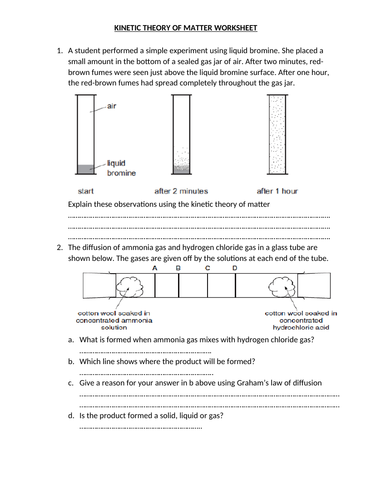 KINETIC THEORY OF MATTER WORKSHEET AND ANSWERS